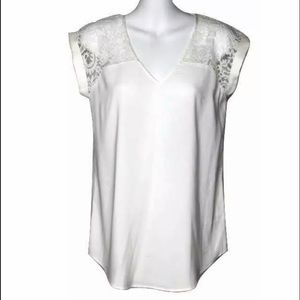 Express Women Short Sleeve Lace Satin Blouse Shirt